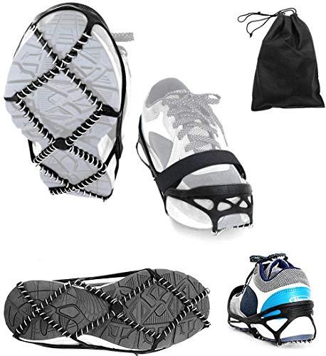 Crampons à crampons de traction hautement élastiques avec sangles Velcro et sac de rangement, crampons antidérapants pour la randonnée, la marche sur la neige et la glace