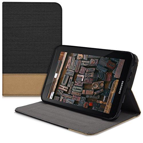 kwmobile Funda Compatible con Samsung Galaxy Tab 2 7.0 P3110 / P3100 -Carcasa de Tela para Tablet con Soporte en Negro/marrón