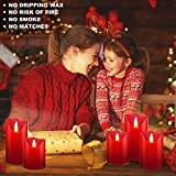 OSHINE LED Kerzen, Flammenlose Kerzen 300 Stunden Dekorations-Kerzen-Säulen im 5er Set (10,2 cm 12,7 cm 15,2 cm,17.8 cm,20.3 cm) rot Geeignet für Weihnachtsdekoration - 6