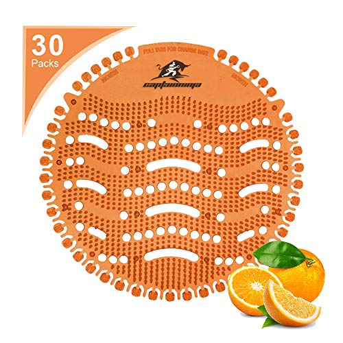 Captain Ninja Urinal Screen Deodorizer (30 Pack) - Scent Lasts for Up to 30 Days – Anti-Splash &Ideal for Any Public Business Facilities Bathrooms (Orange)