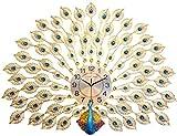 WLXJDJ European Peacock Wall Clock Mute Wall Clock Metal Dial Lujoso Hecho a Mano Personalidad artística Decoración del hogar Adecuado para Sala de Estar