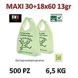 BUSTE BIODEGRADABILI MAXI shoppers biocompostabili 500 pezzi 30+9+9x60 bio biodegradabili e compostabili gr13 UNI 13432 KG 6,5-SCATOLA DA 500 SACCHETTI-