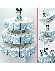 Ingrosso e Risparmio Struttura Torta in cartoncino con fette portaconfetti Disney Topolino Bianche e celesti bomboniere Fai da Te Nascita Compleanno Bambino