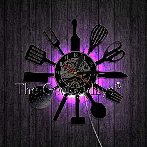 Reloj de Pared de Cocina de Vinilo de 7 Colores, artilugios de Cocina de Vinilo Tallado, Discos LP Hechos a Mano, decoración de la Pared de la habitación de la Cocina