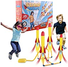 wanjv Toy Rocket Launcher for Kids Stomp Jump 4 Rocket Launched simultaneously Sports Outdoor Toys with 6 Foam Air Rocket Dart Game Christmas Birthday Gifts for Boys Girls Aged 3+ Years Old