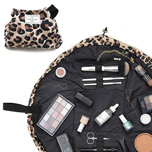 The Flat Lay Co. Make Up Bag | Lay Flat Travel Cosmetic Toiletry Case | Contents not included (Everything | 50cm, Leopard)