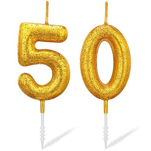 Velas de Número de Oro de Brillo Velas de Pastel de Cumpleaños para Cumpleaños Boda Aniversario Fiesta de Graduación Actividades al Aire Libre (Número 50)