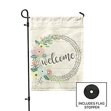 Second East Welcome Wreath Garden Flag Outdoor Patio Seasonal Holiday Fabric 12 X18