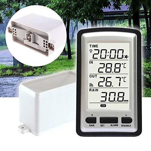 Bclaer72 Medidor de Lluvia, medidor de Temperatura inalámbrico y Profesional para Interiores y Exteriores, con Calendario, Ajuste de Zona horaria y Alarma de Tiempo, Independiente
