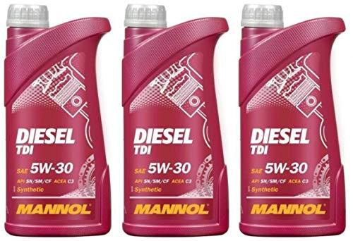 Mannol Diesel TDI 5W30 C2 C3 Aceite de motor totalmente sintético, STJLR.03.5005, 505.01, 3 litros