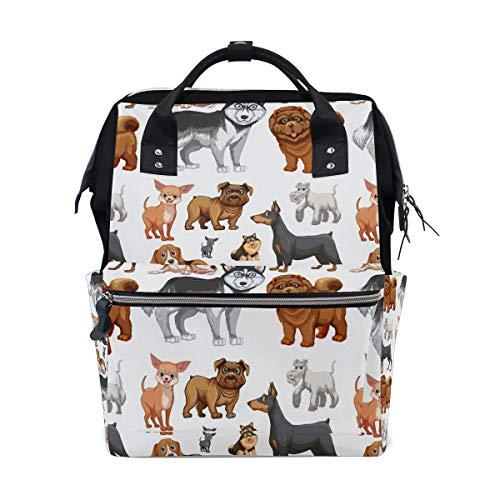 Süßer Husky Hund Chihuahua Shar Pei Welpe Schulrucksack Große Kapazität Mama Taschen Laptop Handtasche Casual Reise Rucksack Satchel für Damen Herren Erwachsene Teenager Kinder