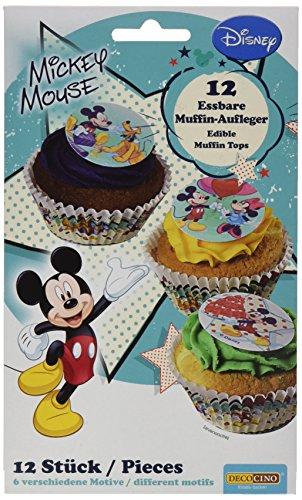 Dekoback Essbare Zucker-Muffinaufleger Mickey Mouse, 12 Stücke