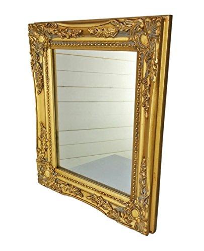 elbmöbel 32x27x3cm rechteckiger Wand-Spiegel, handgefertigter Vintage-Antik-Rahmen aus Holz, Gold, inkl. Befestigung