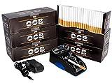 JeVx Maquina Liadora de Tabaco Electrica + 1200 Tubos con Filtro OCB Entubadora para Cigarrillos Cigarros para Fumar (Azul)