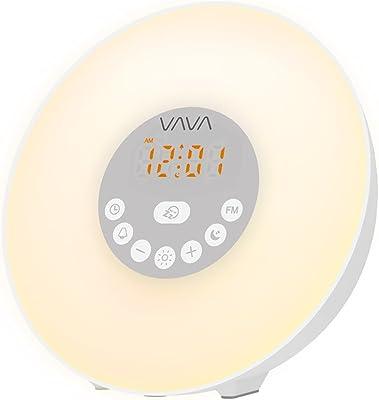 Lichtwecker VAVA 6W Wake Up Licht Wecker Wake Up Light mit 7 Farbige LED Lichter 6 Alarm Töne 10 Helligkeitsstufen