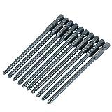 Juego de brocas para destornillador Phillips, broca para destornillador, 10 puntas para destornillador PH2 con cabeza cruzada de acero S2, vástago hexagonal de 1/4 pulgadas, 100 mm para destornillador