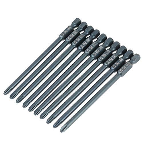 Juego de puntas de destornillador Boaby de 10 piezas de acero con cabeza cruzada PH2, juego de puntas de destornillador hexagonal de 1/4 pulgadas, 100 mm