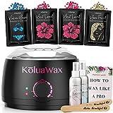 Waxing Kit Wax Warmer Hair Removal with Hard Wax Beans. KoluaWax Multiple Formulas Target Different Type of Hair, Eyebrow, Facial, Armpit, Bikini, Brazilian,for Women and Men. 20 Applicators for Home