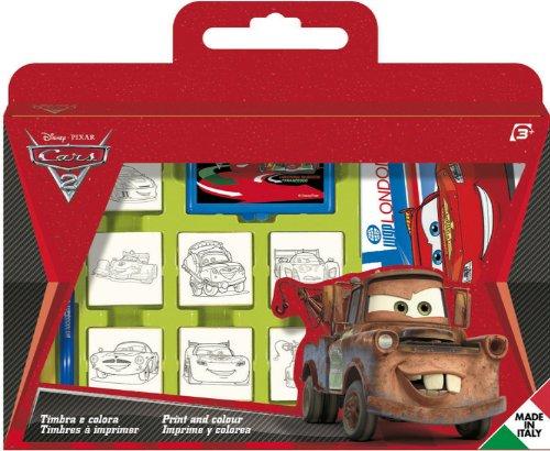 Noris 606317823 - Disney Cars stempelset in koker, 7 stempels gesorteerd