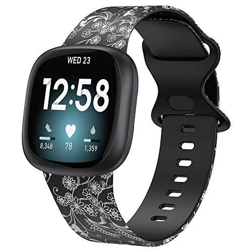 Glebo Compatible con Fitbit Versa 3 / Fitbit Sense, correa de silicona suave, impermeable, correa de repuesto para reloj Versa 3, pulsera deportiva, accesorio para mujeres y hombres, flor pequeña gris