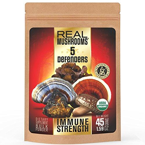 5 Defenders Organic Mushroom Extract Blend by Real Mushrooms - Chaga, Reishi, Shiitake, Maitake and Turkey Tail Powder - Immune Defense - 45g - Perfect for Shakes, Smoothies, Coffee and Tea