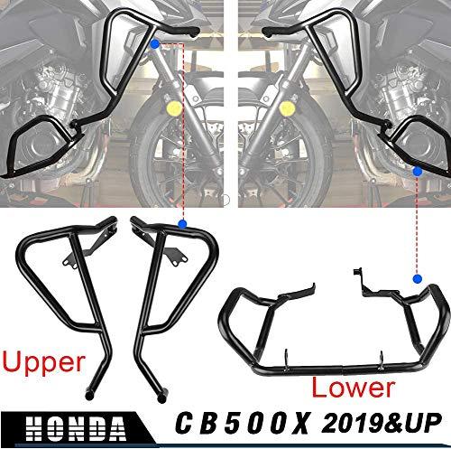 LoraBaber moto nero guardia motore protezione barra di protezione carena telaio inferiore inferiore per H-o-n-d-a CB500X CB 500 X CB 500X 2019 2020 2021 (Superiore)