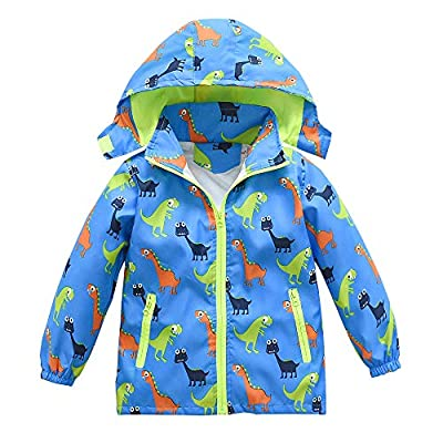 Toddler Boys Girls Jacket Hooded Trench Dinosaur Lightweight Kids Coats Windbreaker Outdoor (Blue,3T)