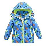 Toddler Boys Girls Jacket Hooded Trench Dinosaur Lightweight Kids Coats Windbreaker Outdoor (Blue,3T)