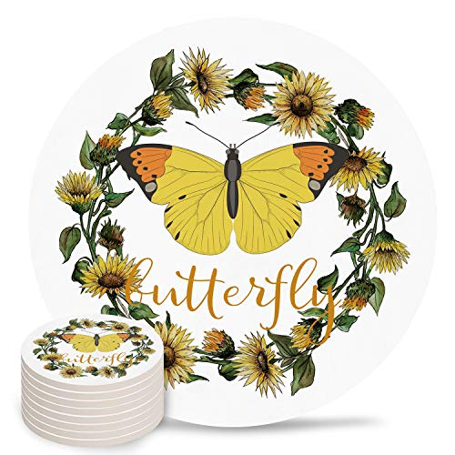 4' Ceramic Drink Coasters Set of 8 Absorbent Coaster with Cork Base Cups Mug Place Mats for Kitchen Bar Home Decor, Yellow Butterfly Wreath White Background