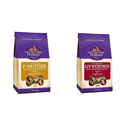Dog Biscuit Bundle: Old Mother Hubbard Classic Crunchy Natural Dog Treats, P-Nuttier And Liv'R'Crunch Mini Biscuits (Two 20-Ounce Bags)