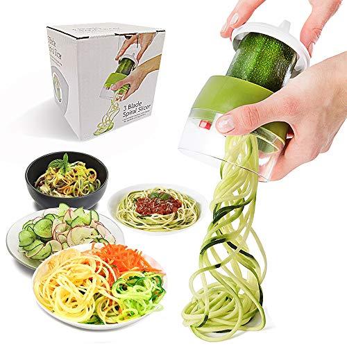 JHCtech 3-in-1 Gemüse-Spiralschneider, verstellbarer Spiralschneider, 304 Edelstahlklingen, Veggie-Spiralschneider, für Karotten, Gurken, Kartoffeln, Kürbis, Zucchini Spaghetti