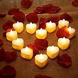 12 Velas Candelitas LED en Forma de Corazón Velas Románticas LED de Amor con 200 Pétalos de Rosa de Seda Pétalos de Dispersión de Flores Artificiales para Niña para Decoración de Mesa