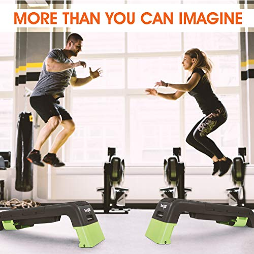 Yes4All Multifunctional Fitness Aerobic Step Platform/Aerobic Deck, Household Step Workout Bench for Home Gym (Green/Black), B. Green/Black