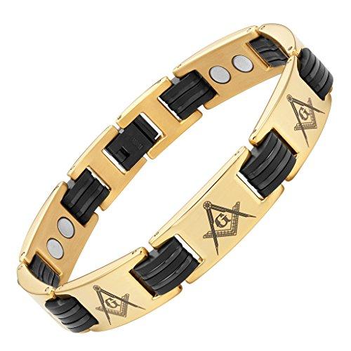 MasonicMan Titanium Freemasonry Masonic Magnetic Bracelet with Adjusting Tool and Gift Box (Style 1)