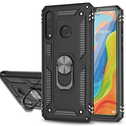 YmhxcY Funda para Huawei P30 Lite,Protector Pantalla Cristal Templado [2 Unidades],Armor Carcasa con 360 Anillo iman Soporte Hard PC y Silicona TPU Fundas Carcasas para Huawei Nova 4e-JS