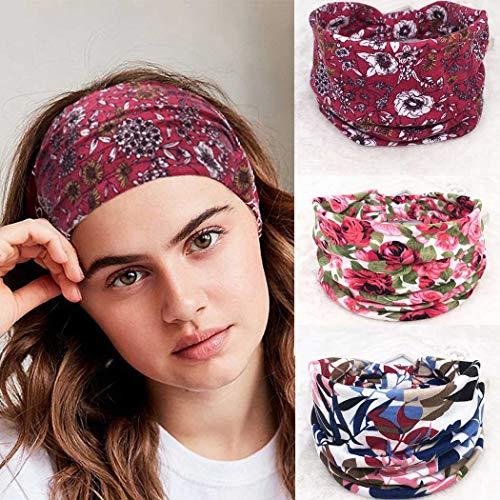 Ushiny Boho-Stirnband-elastische geknotete HairWrap gedruckte Blumen-Twisted-Stirnband Criss Cross Haarband Zubehör für Frauen und Mädchen (3pcs)