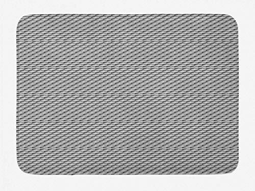 Geometrische Badematte, Simplicity Cubes, Mustergröße, quadratisches Bild, Plüsch-Badteppich mit Rutschfester Rückseite, Hellgrau-Taupe und Dunkel-Taupe