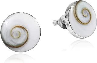 Round 13 mm Swirl Shiva Shell .925 Sterling Silver Stud Earrings