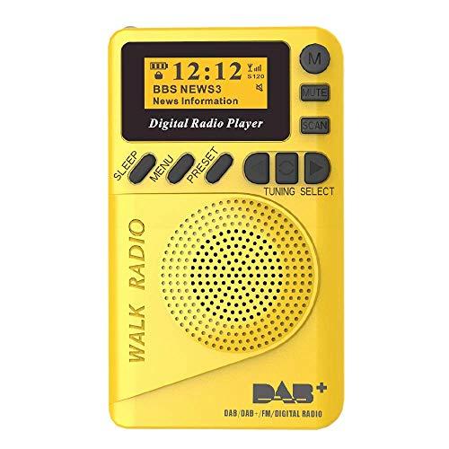 ACAMPTAR Radio Digital de Bolsillo Dab, 87.5-108Mhz Radio Digital Dab con Reproductor Mp3 Radio LCD Pantalla y Altavoz