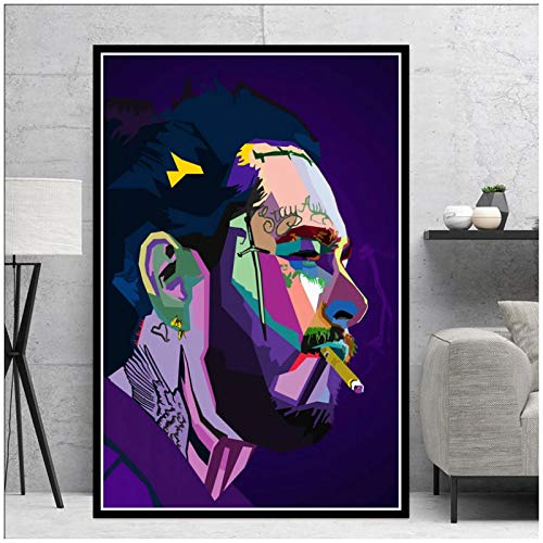 wzgsffs Post Malone Hip Hop Rapper Music Singer Star Abstract Wall Art Print En Lienzo para Sala De Estar Home Bedroom Cafe-20X28 Inchx1 Frameless