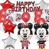 Decoraciones de Cumpleaños de Mickey, Artículos de Fiesta de Mickey y Minnie, Mickey Mouse Themed Decoraciones de Fiesta, Globos de Latex, con Pancarta de Feliz Cumpleaños, 22 Piezas, Rojo