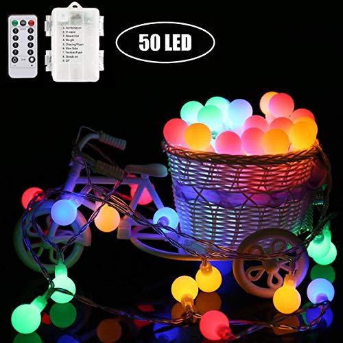 Marvelights Luces de Cadena de Bolas Batería Led Luces de Cadena de Bolas Impermeable Al Aire Libre 50 Led Colorido y Blanco Fiesta Navidad Jardín Bola de Luces de Hadas (Color)