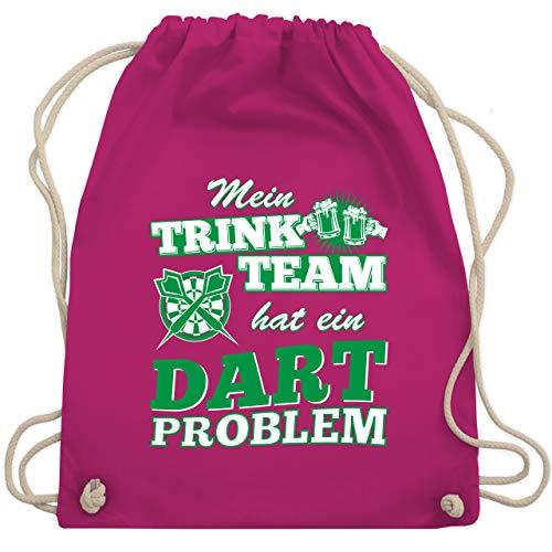 Sport Wandern Football & Co. - Mein Trink Team hat ein Dart Problem - Unisize - Fuchsia - dart-geschenke - WM110 - Turnbeutel und Stoffbeutel aus Baumwolle