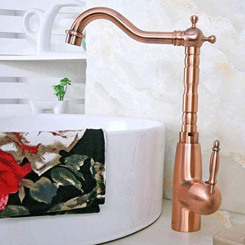 Grifo de cocina Latón de cobre rojo antiguo Manija de una sola palanca Baño Fregadero de cocina Grifo de lavabo Grifo mezclador Caño giratorio Grifo de cocina montado en la cubierta