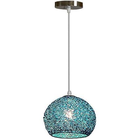 Pendentif Lampe Moderne Aluminium Abat jour - Lustre Suspension Luminaire Boule en Métal Coloré Lampe de Plafond Salon Chambre Cuisine Industrielle (Bleu)