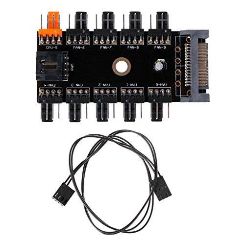 ruiruiNIE SATA 1 a 10 vías Splitter PWM Hub de Ventilador de refrigeración 4 Pines 12V Power Socket PCB Adapter