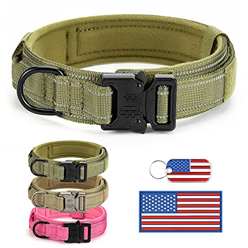 Reflective Tactical Dog Collar Adjustable for Training and Service K9 Dog Collar with Military Nylon Heavy Duty Metal Buckle and Control Handle for Medium and Large Dogs,1.5' Width Green L