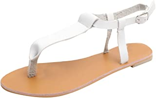 082c792e31 Mysky Fashion Women Summer Rome Breathable Peep Toe Beach Sandals Ladies  Casual Pure Buckle Strap Flat