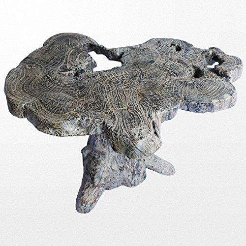 Atypik Home Table en Teck 82 x 60 cm Massif Gris Originale et Authentique