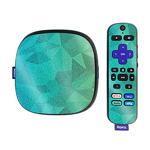 MightySkins Glossy Glitter Skin Compatible with Roku Ultra HDR 4K Streaming Media Player (2020) - Blue Green Polygon | Protective, Durable High-Gloss Glitter Finish | Easy to Apply | Made in The USA